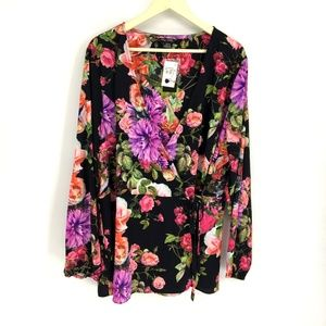 CityChic Chelsea Black Floral Print Wrap Tunic Top